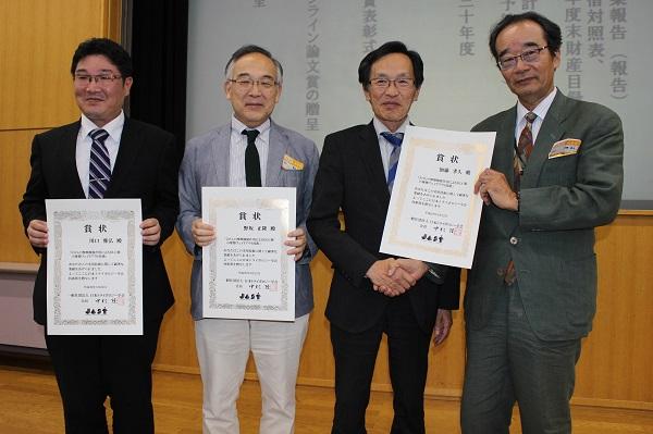 180607トライボロジー会議03: 左から、川口雅弘氏、野坂正隆氏、中村 隆氏、加藤孝久氏