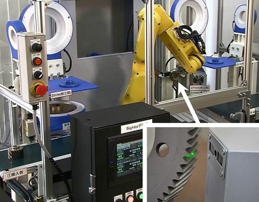 新東工業「PSMX-Ⅱ」をギヤ製造ラインに組み込んだ例と拡大画像(右下)